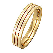 9ct Yellow Gold - 4mm Flat-Court Striped with Satin Wedding Ring