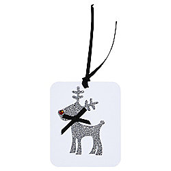 Luxury Silver Glitter Reindeer Christmas Gift Tags, 3 pack