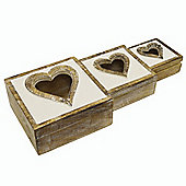 Heart - Box Trio Set - White / Brown