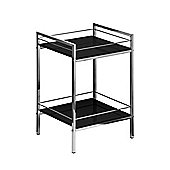 Premier Housewares Two Tier Shelf Unit - Black High Gloss