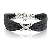 Jewelco London Sterling Silver - Mesh Kiss Charcoal-hue Galvanised Wristpiece - Bangle - Ladies