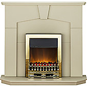 Adam Abbey Fireplace Suite in Stone Effect with Blenheim Electric Fire in Brass