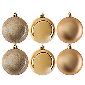 Pack of 6 Glitter, Matte & Shiny Gold 8cm Christmas Baubles