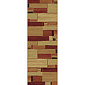 Mastercraft Rugs Galleria Beige Red Block Rug - 80cm x 150cm