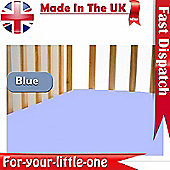 2x Cotton Jersey Fitted Sheet 120cm x 60cm Blue