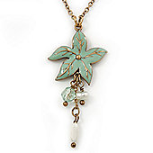 Mint Green Enamel 'Flower' With Beaded Tassel Pendant On Antique Gold Chain - 36cm Length/ 8cm Extension