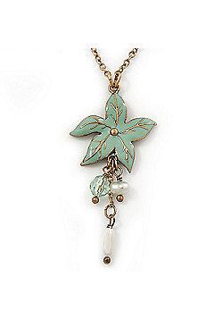 Mint Green Enamel 'Flower' With Beaded Tassel Pendant On Antique Gold Chain - 36cm Length/ 8cm Extension