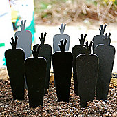 Box of Ten Shaped Garden Accessory Plant Labels with White Pencil - Carrot Design