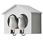 Qualy Duo Sparrow Key Rings and Holder - White