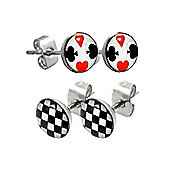 Urban Male Men's Two Pair Set Stainless Steel Check & Card Symbols Stud Earrings