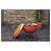 Tesco Retro Portable Charcoal BBQ, Orange