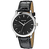 Accurist Gents Black Leather Strap Watch MS672B