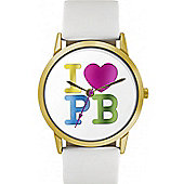 Pauls Boutique Ladies Mia White Leather Strap Watch PA013WHGD