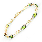 QP Jewellers 5in Diamond & Peridot Classic Tennis Bracelet in 14K Gold