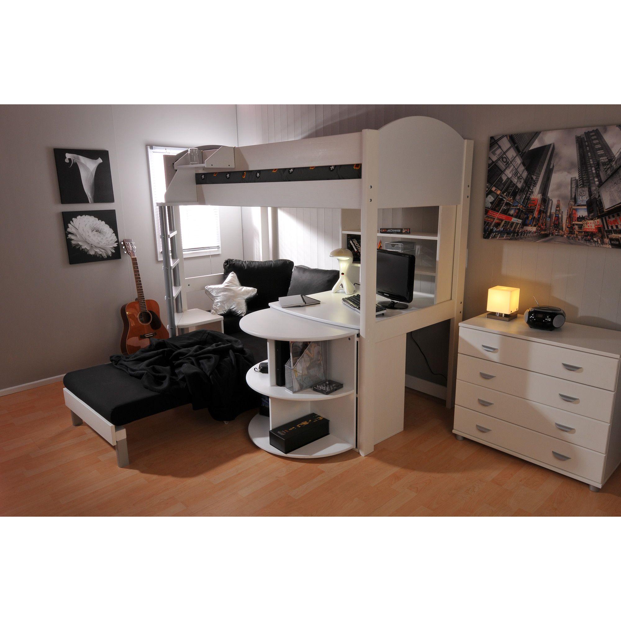 Stompa Casa High Sleeper Sofa Bed with Premium Desk - Antique - Lilac - Blue Denim at Tesco Direct