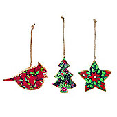 Set of Three Holly Print Hanging Christmas Tree Decorations