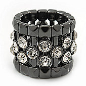 Wide Clear Swarovski Crystal Flex Band Ring In Gun Metal Finish - 20mm Width - Size 7/8