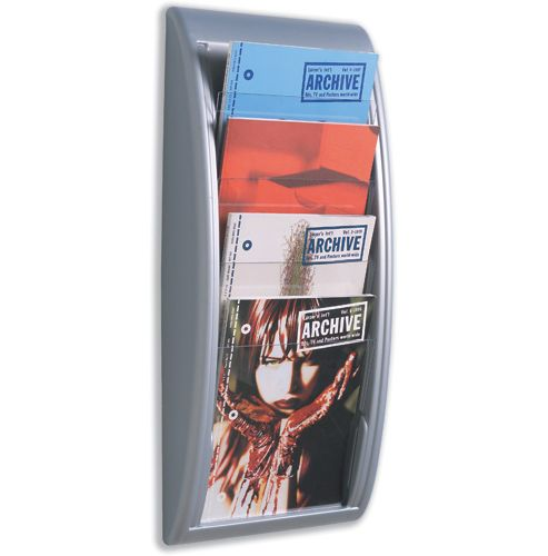 Fast Paper Quick Fit Literature Holder Wall-mount 4 x A4 Pockets W290xD95xH650mm Aluminium Ref 4061.35
