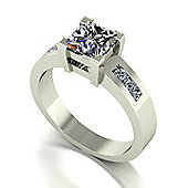 18ct White Gold 6.0mm Square Brilliant Moissanite Single Stone Ring with Channel Set Shoulders