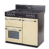 Belling Classic 90DFT Dual Fuel Range Cooker (with 5 gas hob burners) in Cream