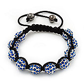 Unisex Shamballa Bracelet Crystal Sapphire Blue Coloured Swarovski Crystal Beads 10mm - Adjustable