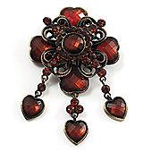 Vintage Amber Coloured Crystal Charm Brooch (Bronze Tone)
