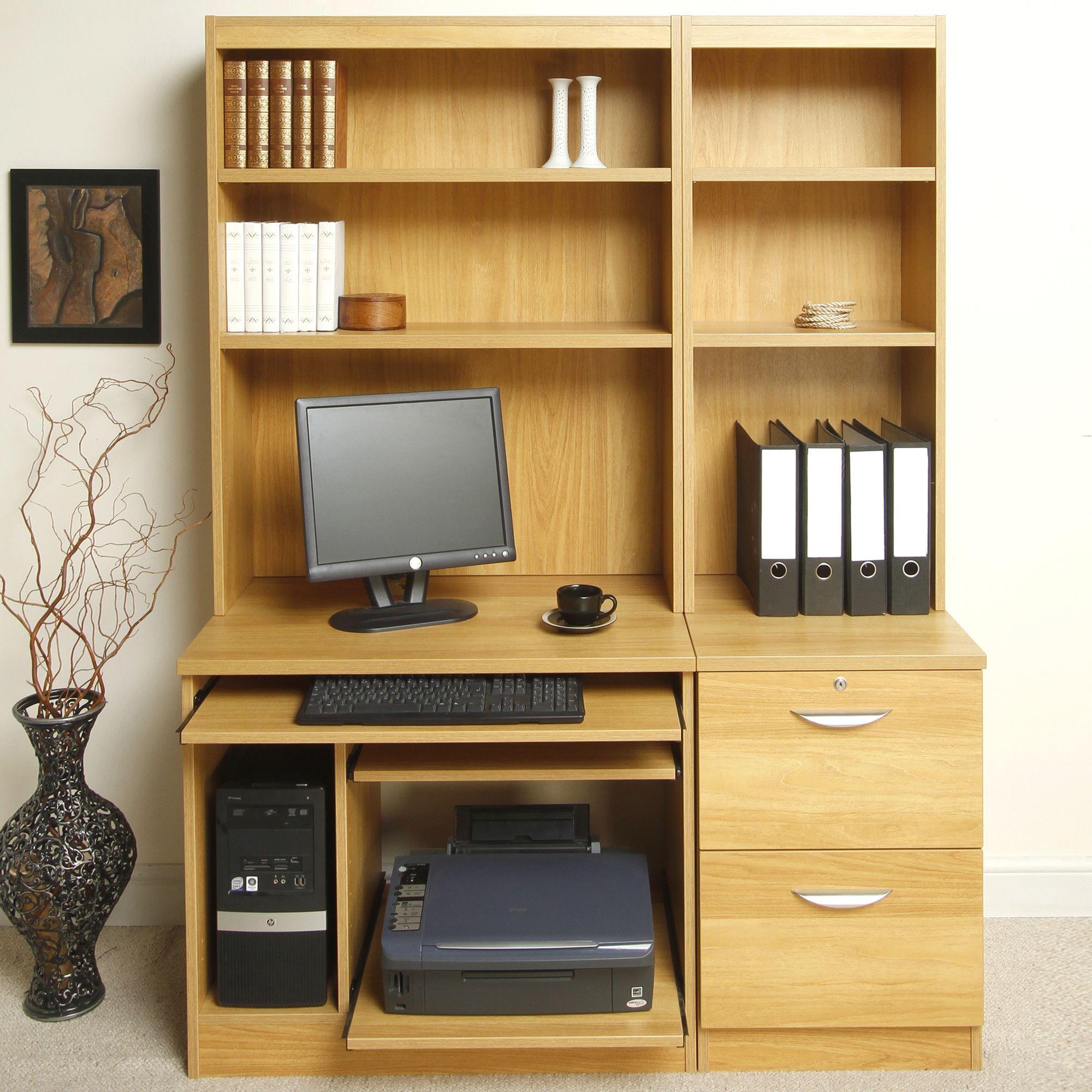 Enduro Home Office Desk / Workstation with Pedestal, Printer / CPU Storage and Inbuilt Bookshelves - Warm Oak at Tesco Direct
