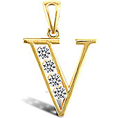 Jewelco London 9ct Gold CZ Initial ID Personal Pendant, Letter V - 1.5g