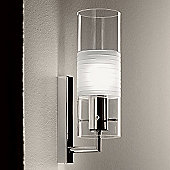 De Majo Xilo Wall Sconce - Clear Glass with Ground and Frosted Band