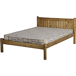 Maya 4'6 Double Bed Frame Distressed Waxed Pine