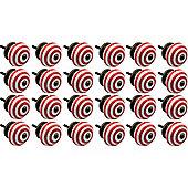 Nicola Spring Ceramic Cupboard Drawer Knobs - Stripe - Light Red - Pack Of 24