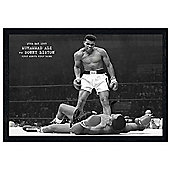 Muhammad Ali Black Wooden Framed Sonny Liston Poster