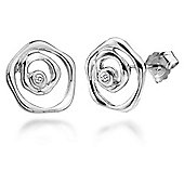 Lily & Lotty Sterling Silver 0.01ct Diamond BLOSSOM Earrings