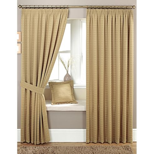 Curtina Marlowe 3 Pencil Pleat Lined Curtains 66x72 inches (168x183cm) - Biscuit