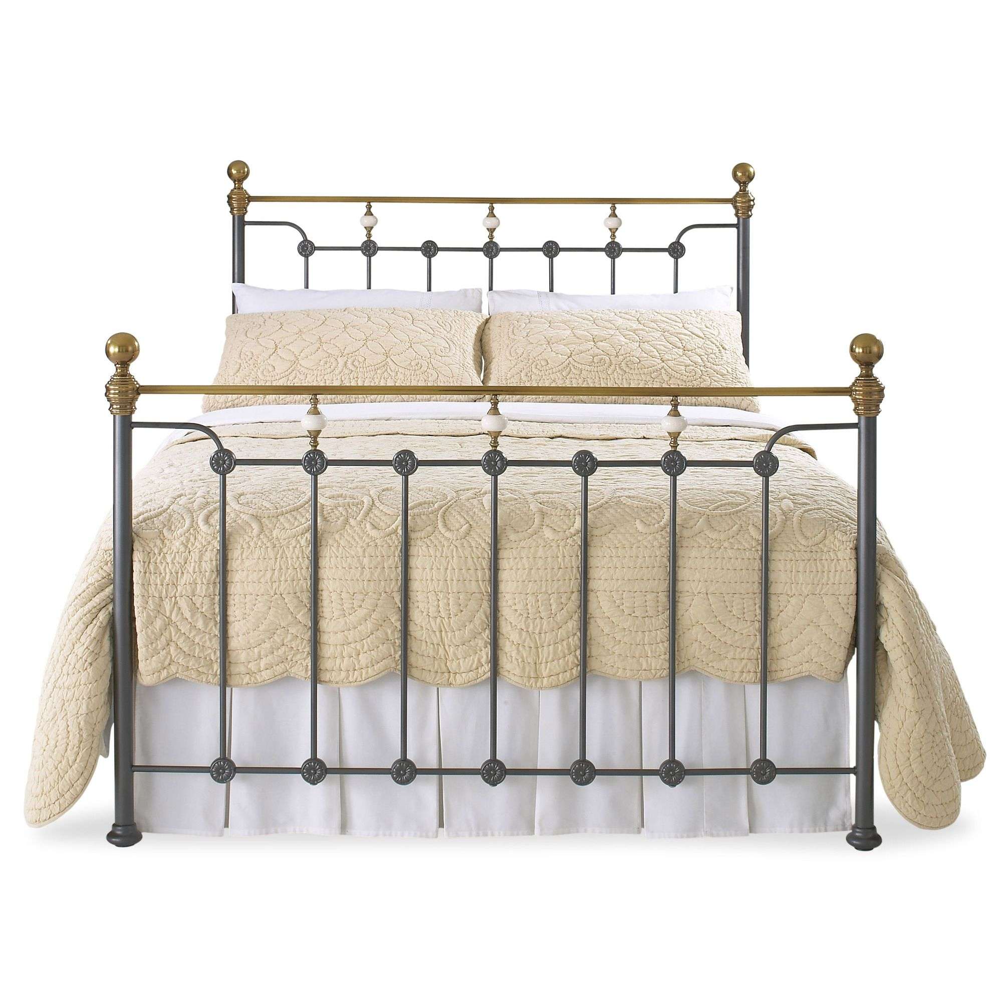 OBC Glenholm Bed Frame - Double - Glossy Ivory at Tesco Direct