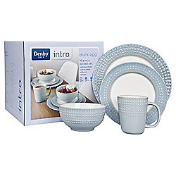 Denby Intro 16 Piece, 4 Person Textured Dinner Set, Duck Egg Blue