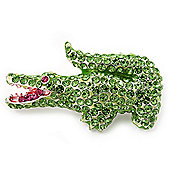Salad Green Swarovski Crystal 'Crocodile' Brooch In Rhodium Plated Metal