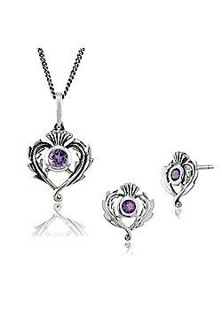 Gemondo Sterling Silver Genuine Amethyst Thistle Stud Earring & 45cm Necklace Set