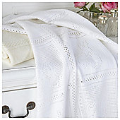 Clair de Lune White Brushed Cotton Cot Bed Blanket