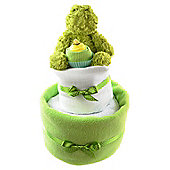 Two Tier Lime Green Unisex Baby Nappy Cake