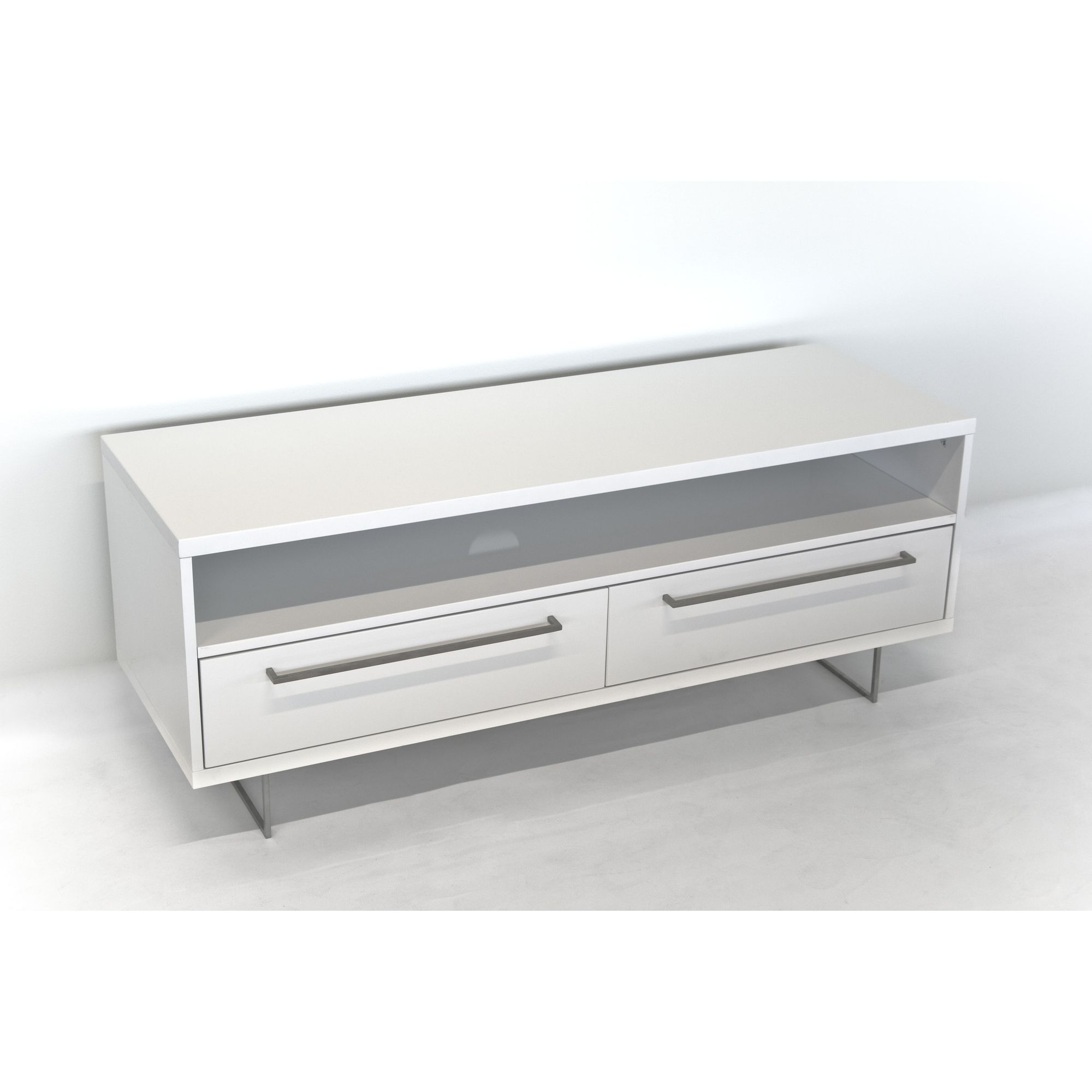 RGE Lago 2 Drawers Multi-Media TV Storage and Display Unit - Lacquer White High Gloss at Tesco Direct