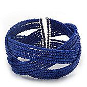 Boho Royal Blue Glass Bead Plaited Flex Cuff Bracelet - Adjustable