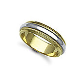 Jewelco London Bespoke Hand-Made 18 carat Yellow & White Gold 6mm Mill Grain Wedding / Commitment Ring,