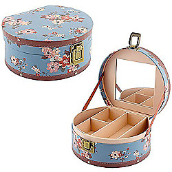 Kathy - Flower Theme Round Jewellery Box - Blue / Pink