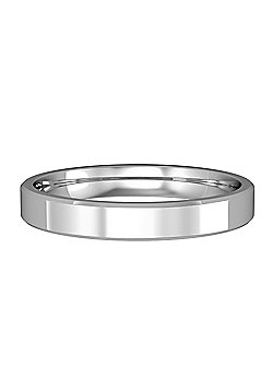 18ct White Gold - 3mm Essential Flat-Court Bevelled Band Commitment / Wedding Ring -