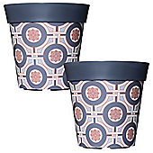 2 x 22cm Grey Tile Plastic Garden Planter 5L Flowerpot by Hum