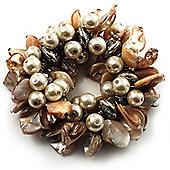 Chunky Antique White Shell And Bead Flex Bracelet