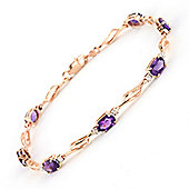 QP Jewellers 8in Diamond & Amethyst Classic Tennis Bracelet in 14K Rose Gold