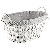 White Wicker Grey Striped Lined Laundry Basket