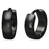 Urban Male Plain Black Stainless Steel Hinged Hoop Earrings
